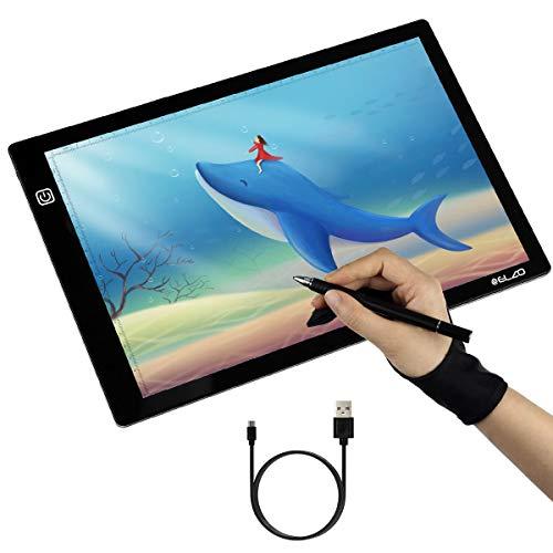 ELZO lichtgevende tafel, LED-licht pad lichtplaat A4 instelbare tekening helderheid dimbaar lichtpaneel met USB-kabel, handschoen voor schetsen, tekenen, sjabloneren, kinderen