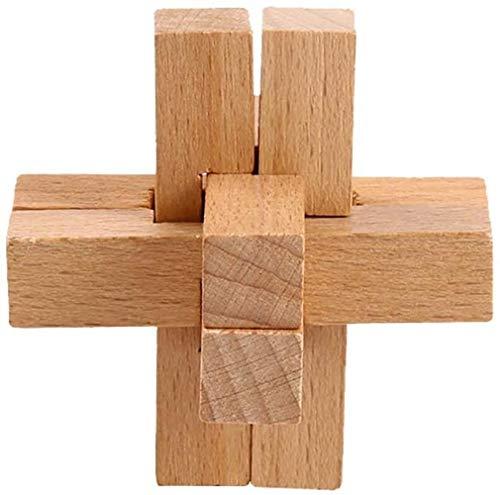 Woodtree 1 PC de Madera Rompecabezas Niños Puzzle Challenge Inteligente Juego de Rompecabezas Que entrelaza Simple Kong Ming Bloqueo de Juguetes educativos de Madera Grande for el Regalo