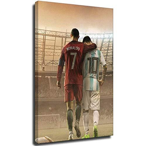 Lionel Messi und Ronaldo 2020 Fußball-Sportbild, Wandkunstdruck, ohne Rahmen, 30 x 45 cm