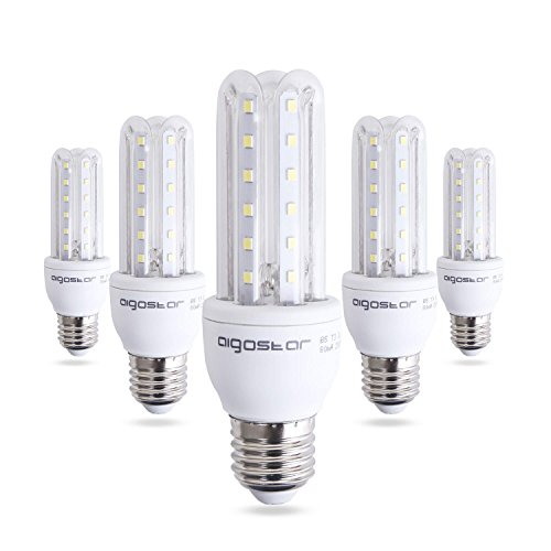 Aigostar - Bombilla LED B5 T3 3U, E27, 9 W equivalente a 60 W, 6400K, 810 lúmenes, no regulable - Pack de 5