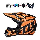 WAHA Casco Moto Niño, Cascos de Motocross,Enduro,Descenso,Full Face para Hombre, Casco de Carreras D.O.T Certificación,Casco Motocross Infantil con Diseño de Fox,XL