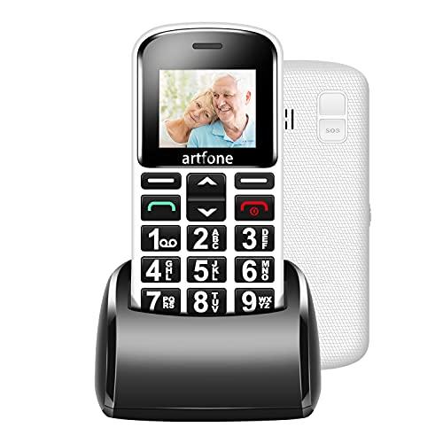 artfone Seniorenhandy ohne vertrag 1,8 Zoll 1400 mAh Basic Mobiltelefon Großtastenhandy ohne Vertrag mit großen Tasten Notruftaste Taschenlampe Dual SIM Rentner Handy (Weiß, mit Ladestation)