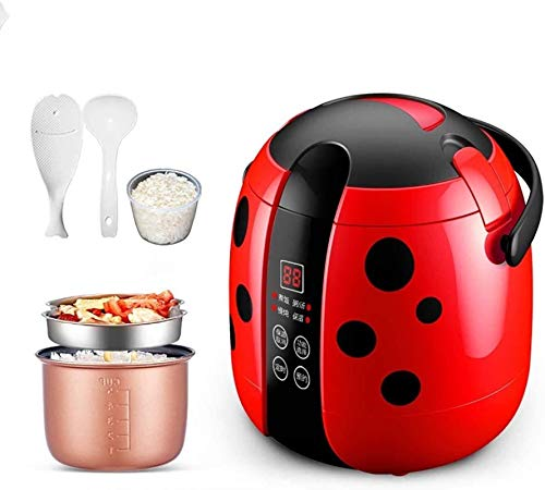 Rice Cookers 1.2L Mini Rice Cooker Steamer, 200W Electric Food Steamer Lunch Box Portable Multifunctional Food Heater Steamer for Cooking Rice, Porridge, Nutritious Eggs,Red,Red (Color : Black)