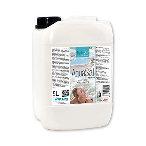 HYDROSAL Aqua Termal 5 litros con magnesio, potasio y yodo para piscina e hidromasaje (Jacuzzi, Teuco, Dimhora, Index,Bestway, etc.), Aqua Sal Natural – pedición inmediata