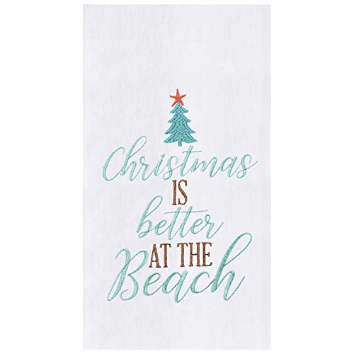 C&F Home Christmas is Better at The Beach Coastal Holiday Christmas Xmas Embroidered (Not Printed) Flour Sack Kitchen Towel Kitchen Towel White
