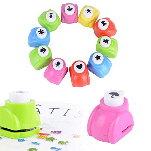 Deolven Motivstanzer,12 Stück Mini Motivlocher Kinder Papier Craft Punch Papierstanzer Set für Bastelarbeiten, Grußkarten, Fotoalben, Tischkarten, Scrapbooking
