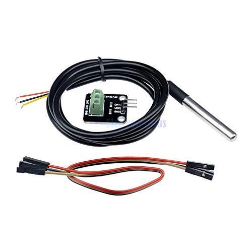 ICQUANZX Bloque de construcción electrónico Impermeable del Kit del módulo del Sensor de Temperatura DS18B20 para Arduino