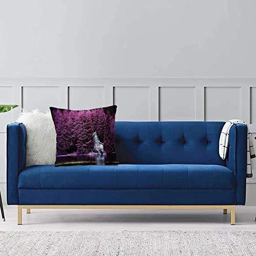 Set de 1 x Funda de Almohada 45x45 cm,Conjunto de Lavanda, árboles púrpuras Junto al Lago con cabaña rústica de Madera Azul Lakehouse LFundas de Cojines de Calidad con una Suavidad Incomparable