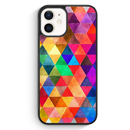 Bunte Dreiecke Wasserfarben - Silikon Hülle für iPhone 12 Mini - Motiv Design Mädchen Muster Frauen Schön Damen - Cover Handyhülle Schutzhülle Hülle Schale
