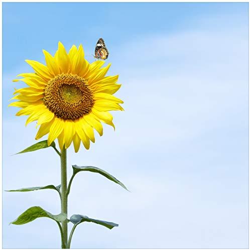 Wallario Möbeldesign/Aufkleber, geeignet für IKEA Lack Tisch - Sonnenblume mit Schmetterling in 55 x 55 cm