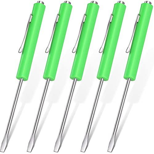 5 Pieces Pocket Magnetic Screwdriver Mini Green Slotted Head Screwdriver with Pocket Clips Pocket Screwdriver Tool Set for Home Office Gadgets Repair Tools Mechanics Electricians Technicians