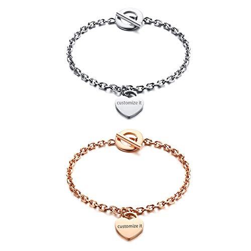 JewelryWe Schmuck 2pcs Damen-Armband mit Gravur, Edelstahl Poliert Herz Anhänger Charm Armkette Armreif, Rosegold Silber