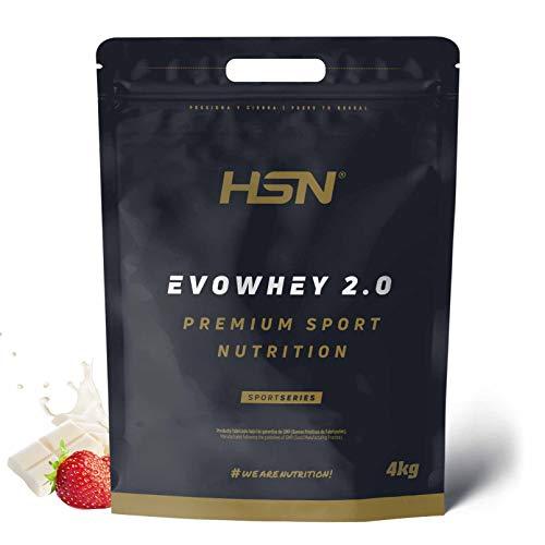 Concentrado de Proteína de Suero Evowhey Protein 2.0 de HSN | Whey Protein Concentrate| Batido de Proteínas en Polvo | Vegetariano, Sin Gluten, Sin Soja, Sabor Fresa Chocolate Blanco, 4Kg