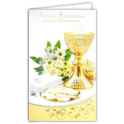 Afie 19-631 - Tarjeta portabillete con sobre de felicitaciones para tu comunión, oro dorado cobre brillante, Oties copa católica, rosario bible, flores rosas blancas y fiestas
