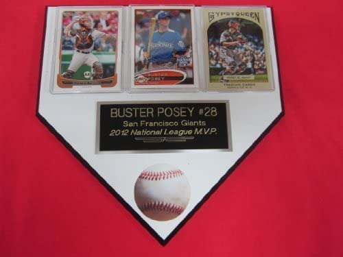 Buster Posey Giants 3 Card Collector Home Plate Plaque to Amazon product image