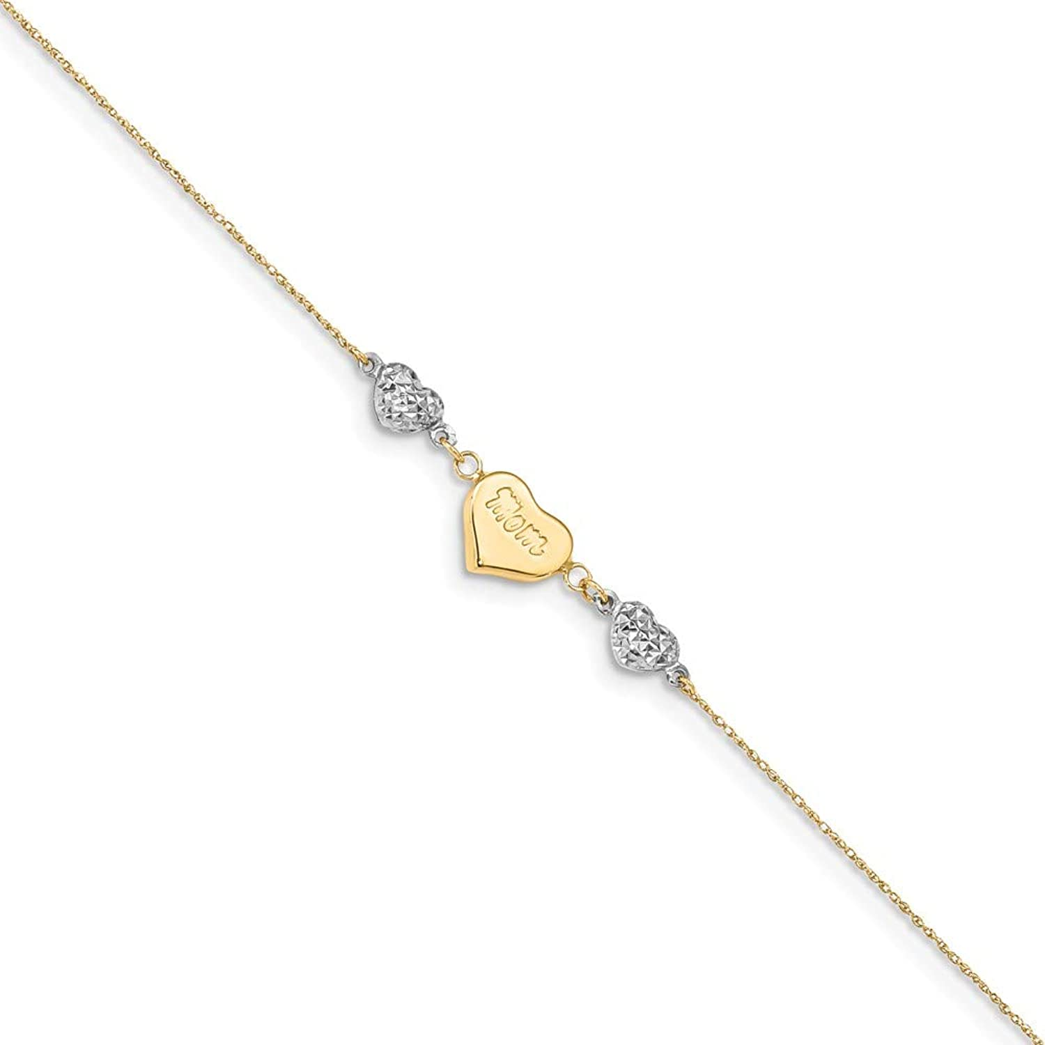 Beautiful White and yellow gold 14K Whiteandyellowgold 14K Two Tone Puffed MOM Heart 7in w  1 In Ext Bracelet