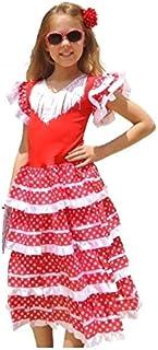 97a6a4f430 La Senorita Vestido Flamenco Español Traje de Flamenca chica/niños blanco  rojo (Talla 4