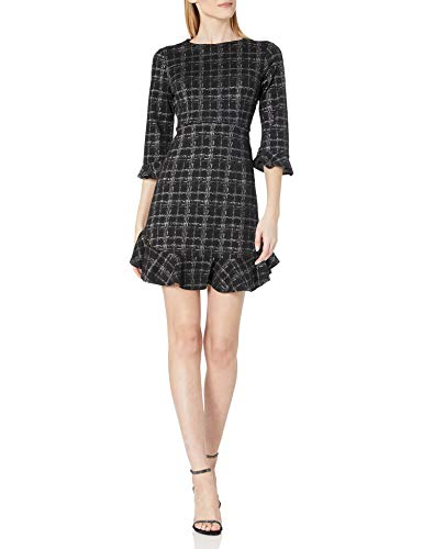 Nanette Nanette Lepore Women's 3/4 Fit and Flare Dress with Flounce Panels at Sleeves and Hem, Black/Silver, 6
