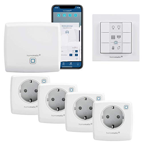 Homematic IP - Smart Home Starterset Steckdosen mit App, Ideal für eine smarte Lichtsteuerung | Alexa kompatibel | Zentrale, 4 x Smart Plugs Wifi Steckdosen, Smarthome Funk Wandtaster