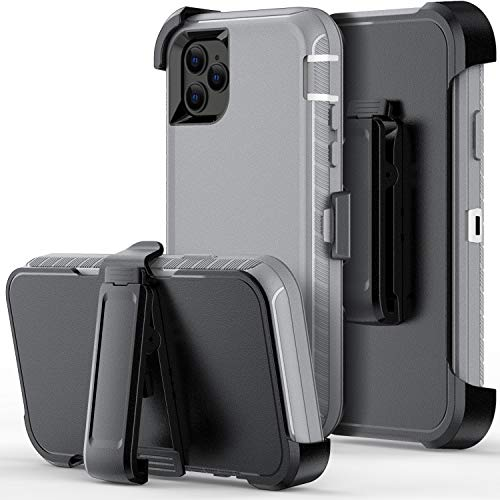 Defender Wallet Design with Hidden Back Mirror and Card Holder Heavy Duty Protection Shockproof 3 in 1 All-Round Armor Protective Case for iPhone 11 Pro (gray)