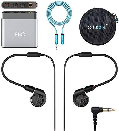 Audio-Technica ATH-E40 IEM Headphones Bundle with A1 Silver Portable Headphone Amplifier, Blucoil 6-FT Headphone Extension Cable (3.5mm), and Portable Earphone Hard Case