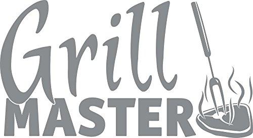 GRAZDesign Wandtattoo Küche Spruch Grillmaster Steak Aufkleber für Draußen auf Grill Männer Für Grill-Partys (55x30cm / 074 Mittelgrau)