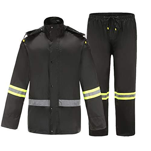 Ourcan Rain Suits for Men Fishing Rain Gear for Men Waterproof Lightweight Rain Coats for Men Waterproof with Hood and Pants (Black R104, M)