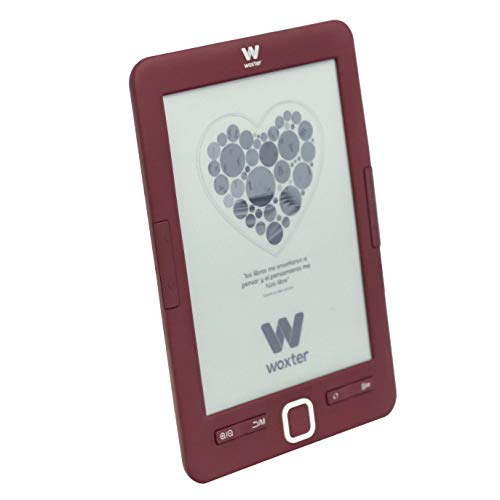 "Woxter E-Book Scriba 195 - Lector de libros electrónicos 6""(1024x758, E-Ink Pearl pantalla más blanca, EPUB, PDF) Micro SD, guarda más de 4000 libros, textura engomada, color rojo"