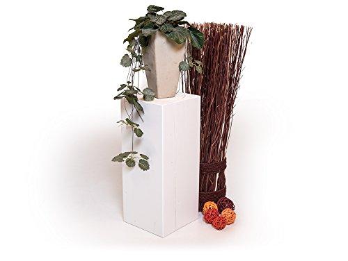 moebel-eins Blumensäule Fichte massiv Dekosäule Holzsäule Säule Landhaus Design, Weiss, 19x19 cm, 40 cm