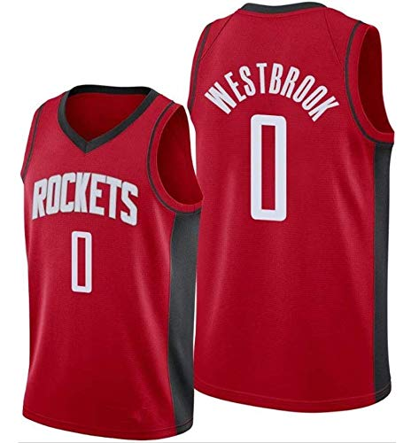 CXJ Herren NBA Trikot, Russell Westbrook # 0 Rockets Fan Trikot Basketball Uniform Tops Feines Besticktes T-Shirt Ärmellose Sportbekleidung,L