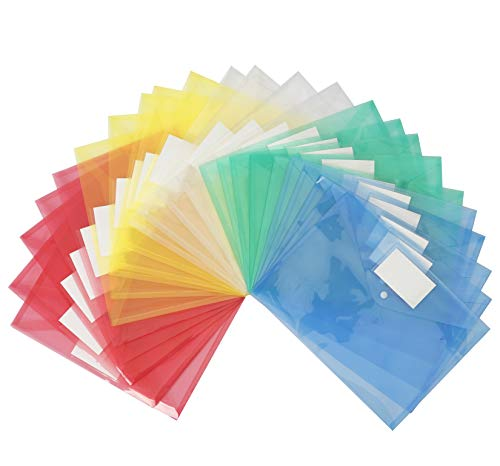 25 Pack Poly Filing Envelope, Wellerly Plastic Clear Document Folder with Label Pocket/Snap Button Closure, US Letter / A4 Size, File Envelopes for School Home Work Office, Set of 25 in 5 Colors