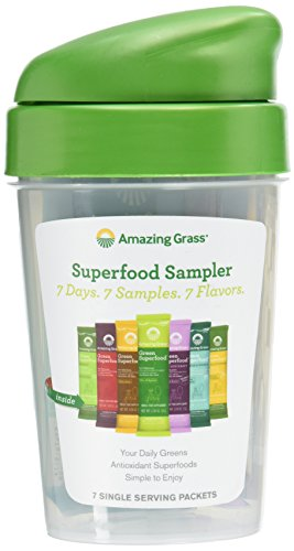 Amazing Grass Green Superfood Sampler: Super Greens Powder with Spirulina, Digestive Enzymes & Probiotics, 7 Flavors + Shaker Bottle