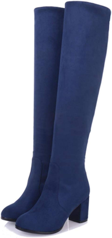 JOYBI Womens Fashion Over The Knee Boots Chunky High Heel Slip-On Round Toe Winter Thigh High Boots