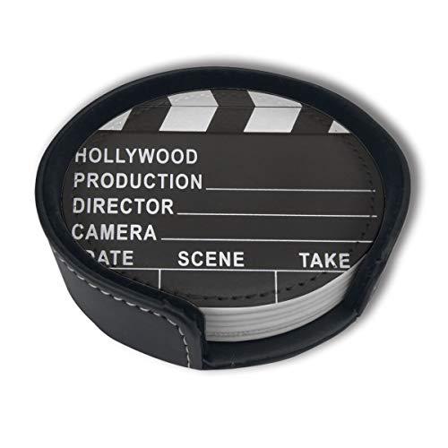 Posavasos de la tabla del Lapper del cine de la película para las bebidas estera de la taza del cuero con el titular, 6 PC