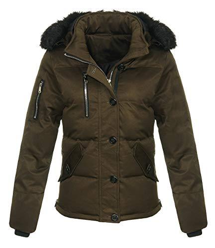 malito dames winterjas met bont | gevoerde korte jas | Jas met capuchon - Stepjas JF1841