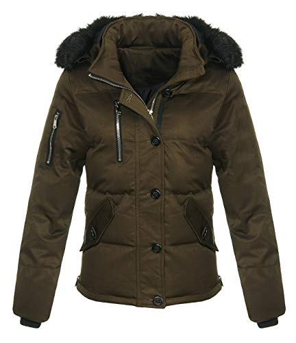 Malito Damen Winterjacke mit Fell | gefütterte Kurzjacke | Jacke mit Kapuze - Steppjacke JF1841 (dunkeloliv, XL)