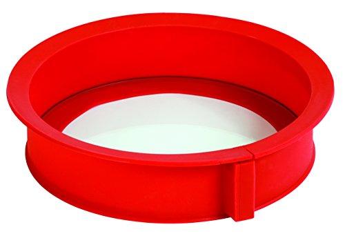 Pavonidea EASYCAKERSAS Moule à Gâteau avec Ouverture et Plaque de Verre 65 X 260 mm Bord en Silicone Rouge
