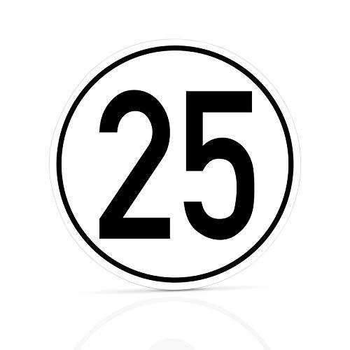 Betriebsausstattung24® Geschwindigkeitsschild für Kraftfahrzeuge | Angaben zur Zulässigen Höchstgeschwindigkeit | Rund | Selbstklebend (25 km/h, PVC-Folie)