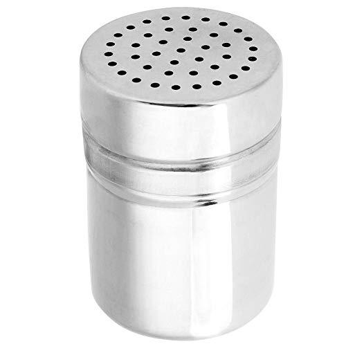 Salero y pimentero, Tamiz Saleros recipiente de azúcar para condimentar especias de acero inoxidable con tapa, para Hogar, Restaurante, Barbacoa(M)