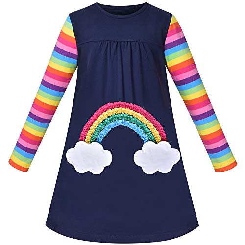 Vestido para niña Unicornio Arco Iris Nube Bolsillo Manga Larga Algodón 3 años
