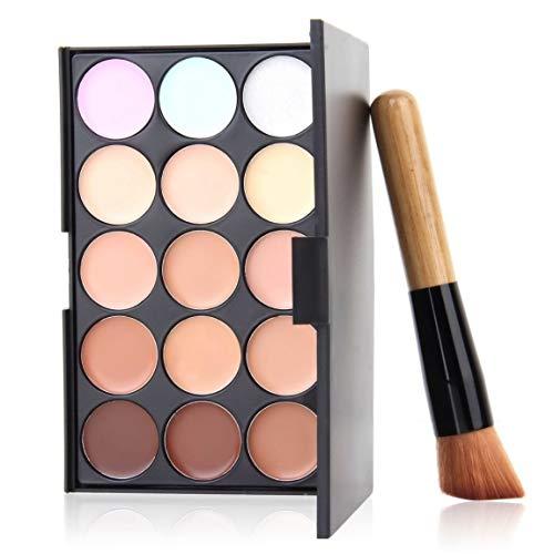 SeniorMar-UK Palette de correcteur de Maquillage de crème de Contour de Fard à paupières Professionnelle de 15 Couleurs avec Le Pinceau Oblique de Base
