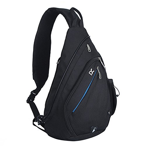 NOTAG Marsupio Zaino Monospalla in Tela, Ultralight Borsa Tracolla Crossbody Petto Anti Theft Viaggio Spalla Pack Bag (Nero)