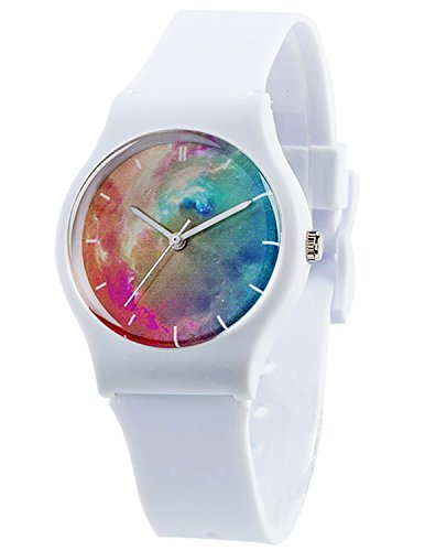 Tonnier Watches White Resin Super Soft Band Student Watches for Teenagers Young...