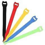 Siming - 50 Bridas Reutilizables con cordón de Velcro, Organizador de Cable Ajustable, Gancho y Bucle de sujeción Coloridos