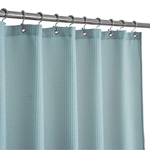 Waffle Weave Shower Curtain Hotel Luxury Spa, 230 GSM Heavy Duty Fabric, Water Repellent, Blue, 71'x72'