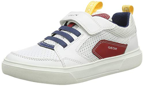 Geox J NETTUNO Boy C, Zapatillas Niños, Blanco (White/Red C0050), 34 EU