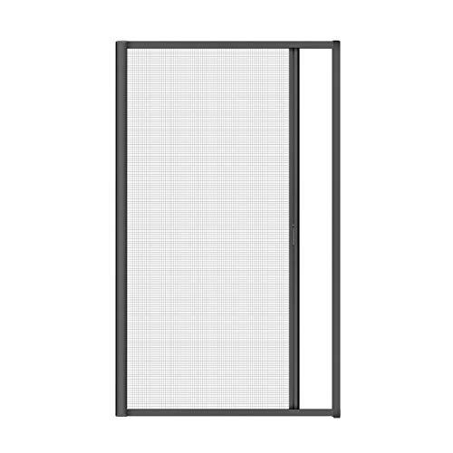 Nematek® Alu Insektenschutz Rollo für Türen - Mückenschutz Fliegengitter Tür Rollo mit Aluminium Rahmen für Balkontür Terrassentür (160 x 225 cm, anthrazit)