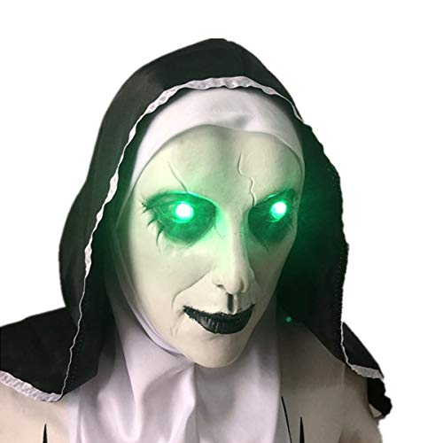 The Nun Scary Mask Halloween Party Horror Led Light Up Mask,The Nun Costume Mask