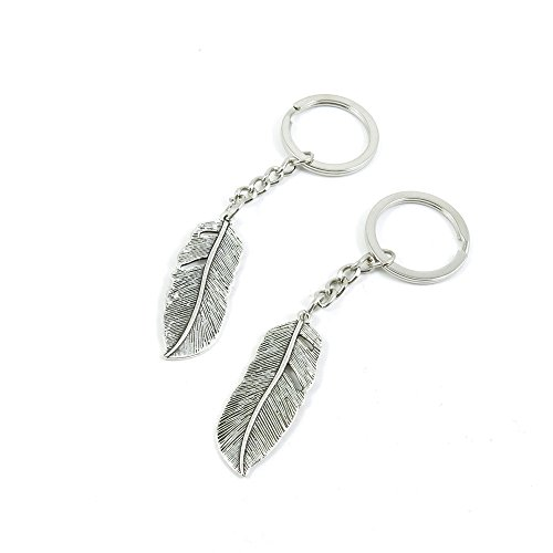 2 Pieces Keychain Door Car Key Chain Tags Keyring Ring Chain Keychain Supplies Antique Silver Tone Wholesale Bulk Lots N8HB4 Feather