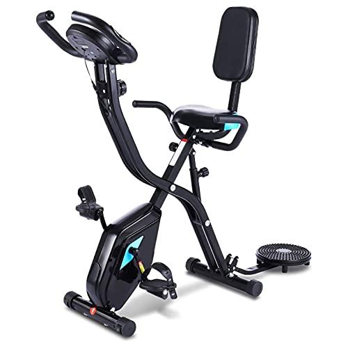 NAOKEY Bicicleta de Ejercicios de Fitness, Bicicleta 3 En 1, Bicicleta de Ejercicios con Aplicación, Bicicleta de Aptitud Plegable, Configuración de Resistencia Magnética 10, Medición de Pulso